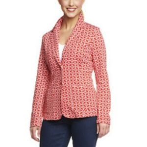 Isaac Mizrahi Mosaic Print Knit Blazer RED Sz XL